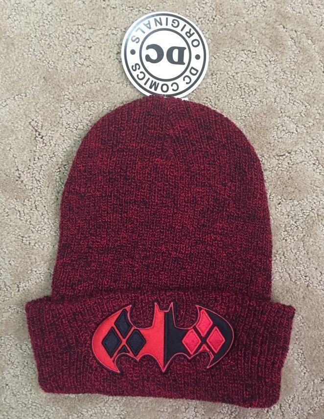 e704c932bf6 DC Comics Batman Harley Quinn Emblem Marled Red Knit Winter Beanie Ski Hat  NWT