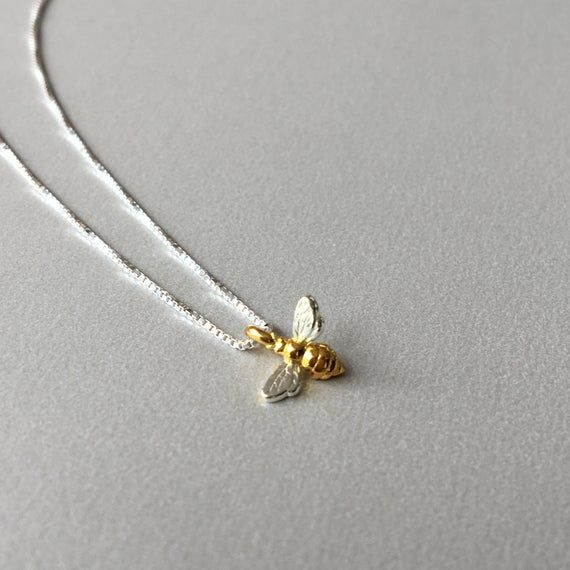 Photo of Tiny Bee Necklace Dainty 925 Sterling Silver Necklace with  Bee Pendant Christmas Gift