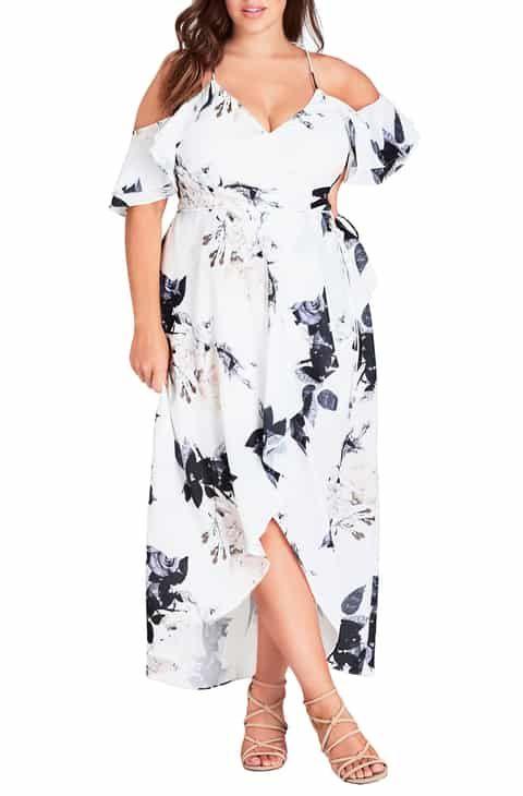City Chic Floral Print Ruffle Maxi Dress Plus Size