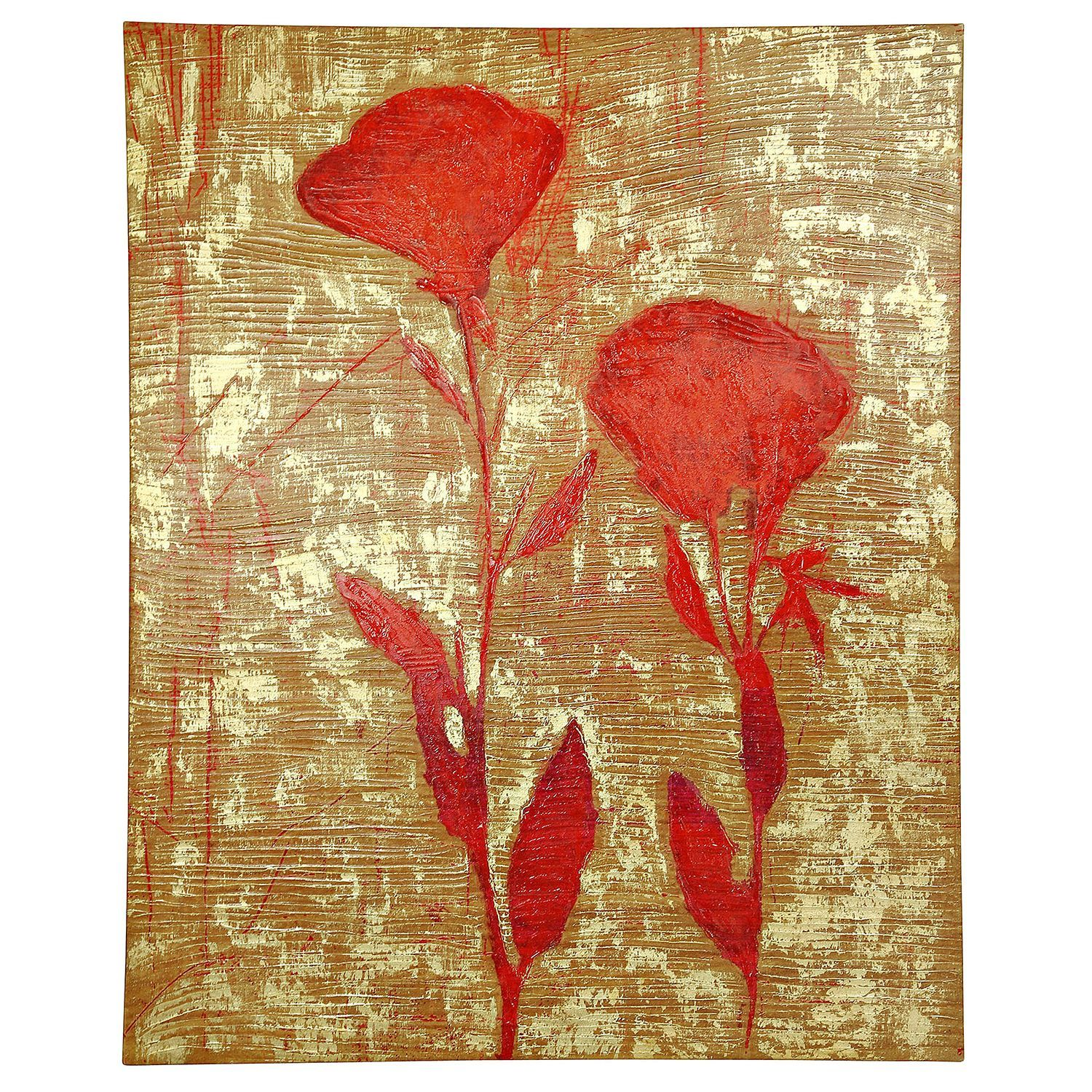 Double red flowers canvas print art