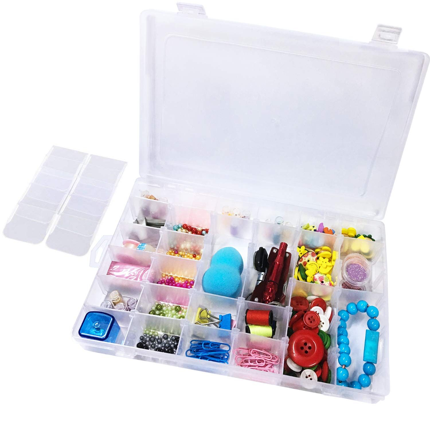 Plastic Organizer Container Box 36 Compartments Jewelry Storage Box with Adjustable Dividers