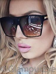 Huge Oversized Square Flat Top Retro Black Kim Glasses Designer Sunglasses 8818