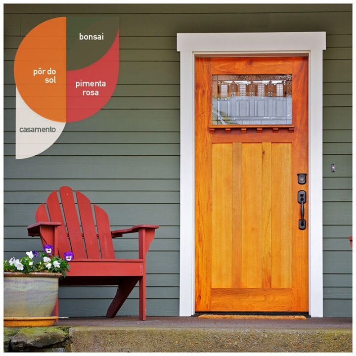 Grey House Orange Door House Colors Pinterest Green