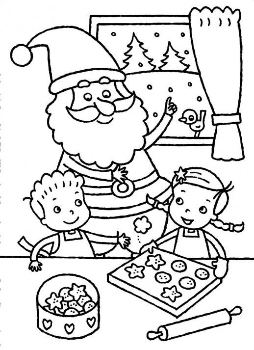 christmas cookies printable coloring pages | Santa Claus And The Kids Baking Christmas Cookies Coloring ...