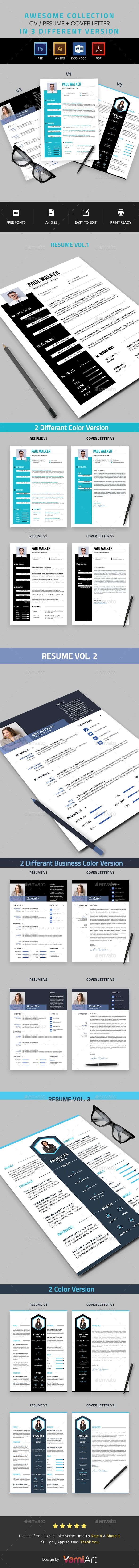 Resume Bundle  Ai Illustrator Template And Resume Cv