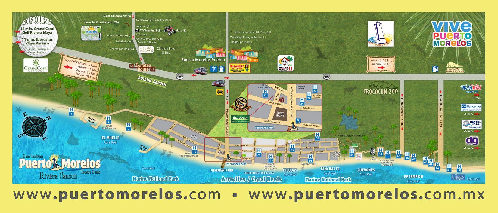 mapa ptorelos exphotel puerto morelos pinterest puerto