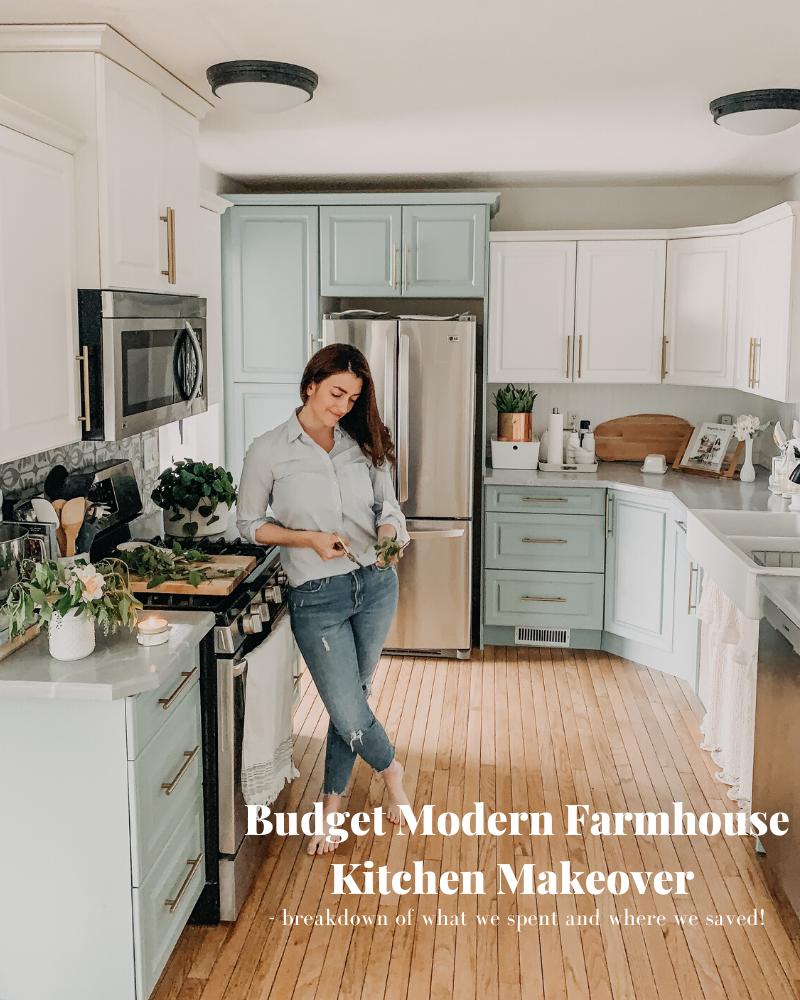 Budget Modern farmhouse Kitchen Makeover in 2020 | Kitchen ...