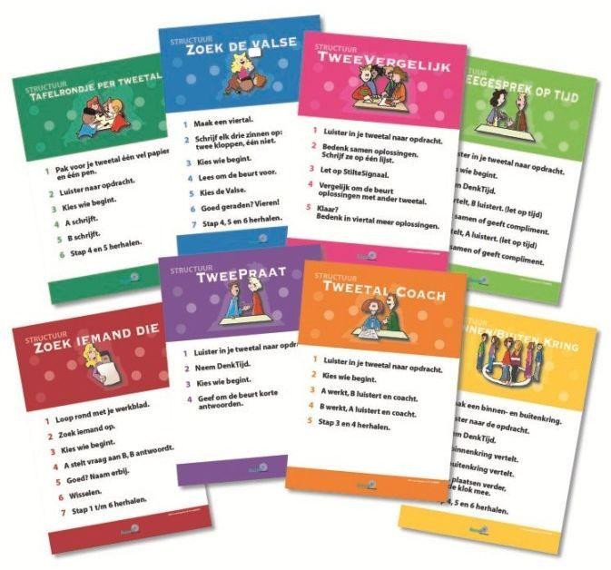 De verschillende coöperatieve werkvormen, op handige kaartjes weergegeven.