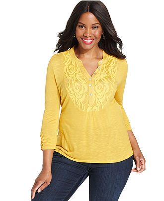 ny collection plus size top, three-quarter-sleeve lace henley