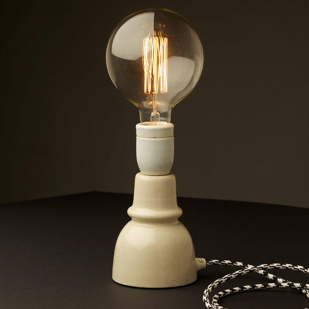 Light Tower Globes: Ceramic Insulator Table Lamp Large Round Edison Light