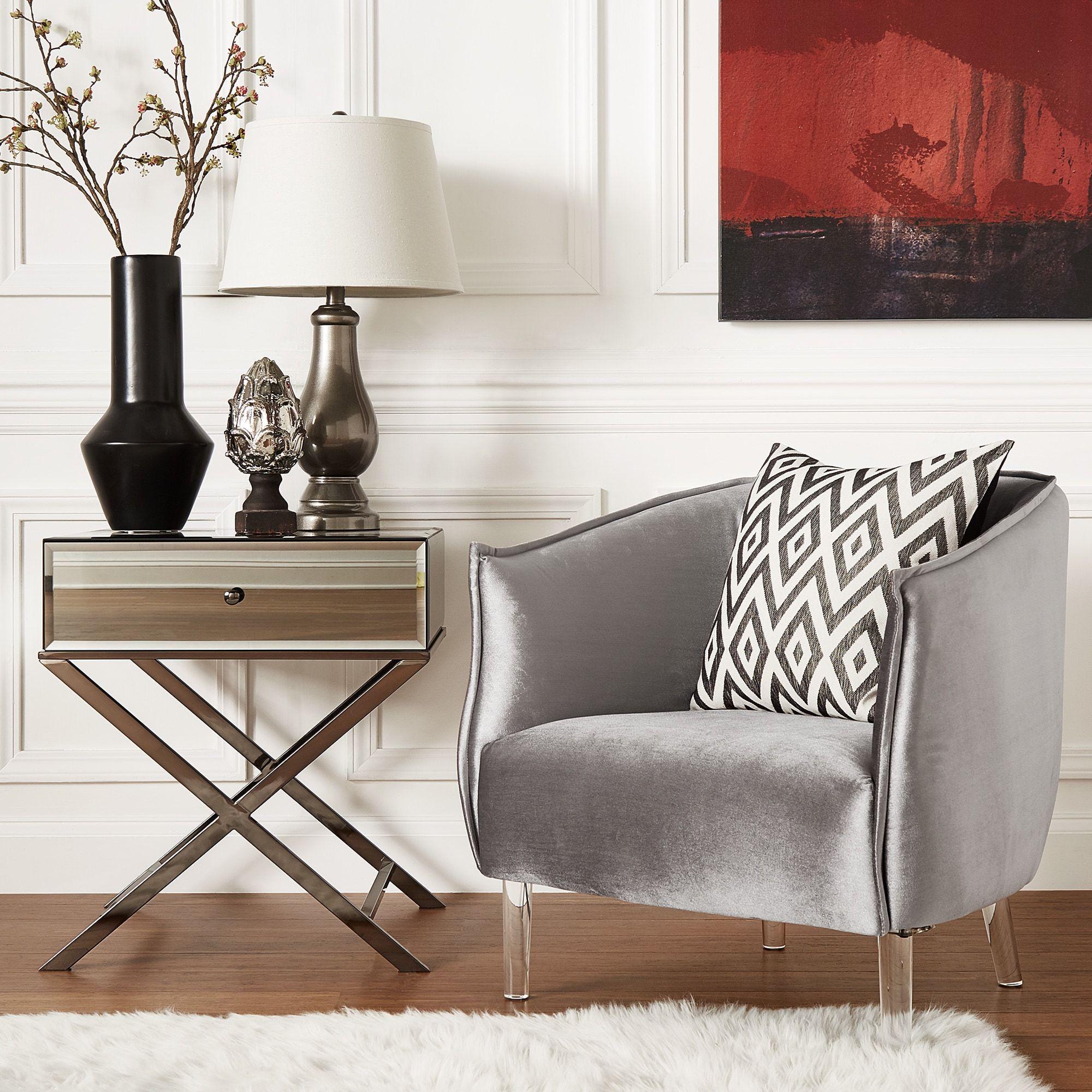 Vianne Velvet Curved Back Acrylic Leg Accent Chair by iNSPIRE Q Bold  (Silver Velvet), Clear