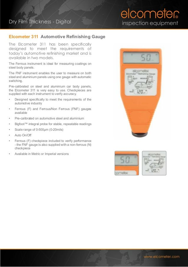 wwwdfttech Dry Film Thickness - Digital Elcometer 311 - best of cole parmer temperature probe