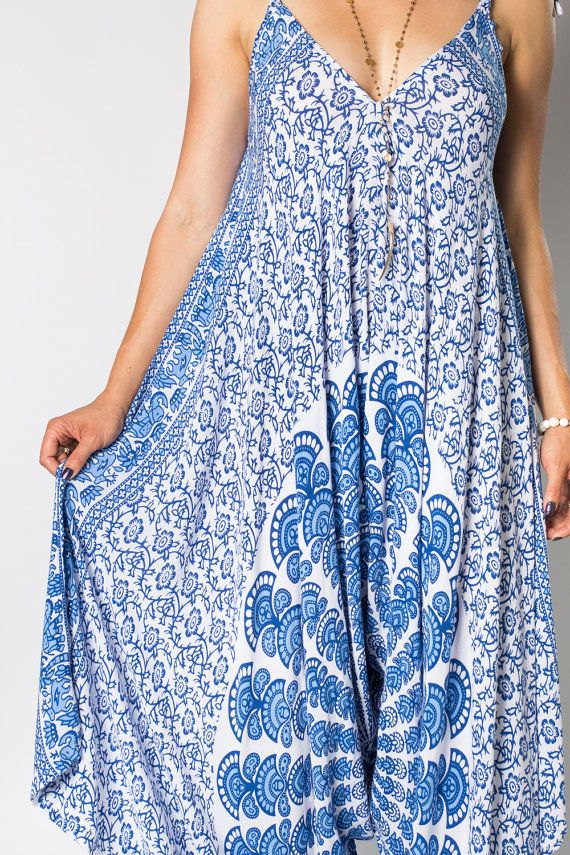 a9d53e65fce90 Wide Leg Womens Gypsy Long Jumpsuit Dress in Blue Peacock