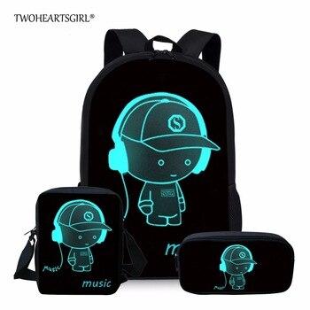 Twoheartsgirl Black School Bag Sets Luminous Schoolbag For Teenager Girls Cute Children Kids School Bookbags Mochila Escolar | ACSRZ | Your Place For Accessories, Makeup, Clothing, Gadgets And Electronics