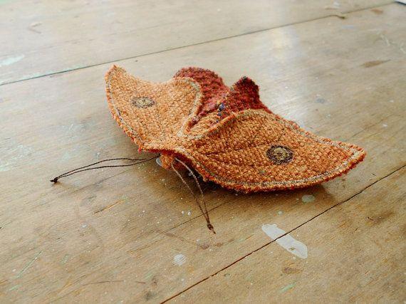 Small fabric moth/ orange brooch pin / upcycled от willowynn