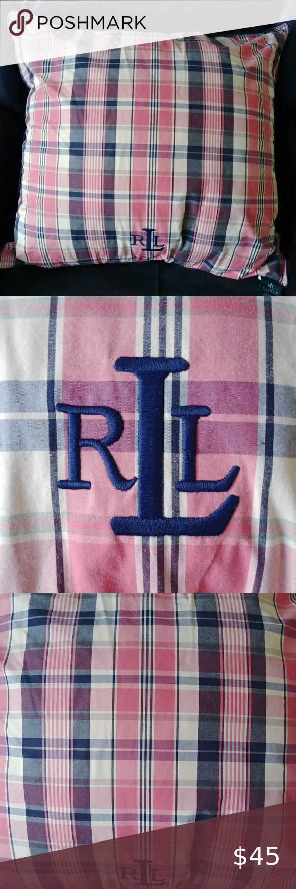 I just added this listing on Poshmark: Ralph Lauren Pink & Navy Madras Plaid Pillow