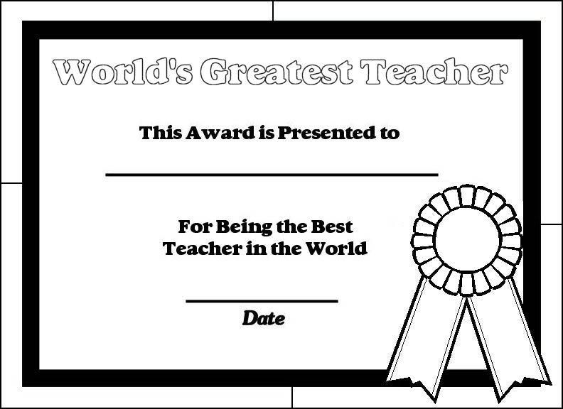 Coloring Pages For Your Teacher : Printable certificates for teachers teacher and