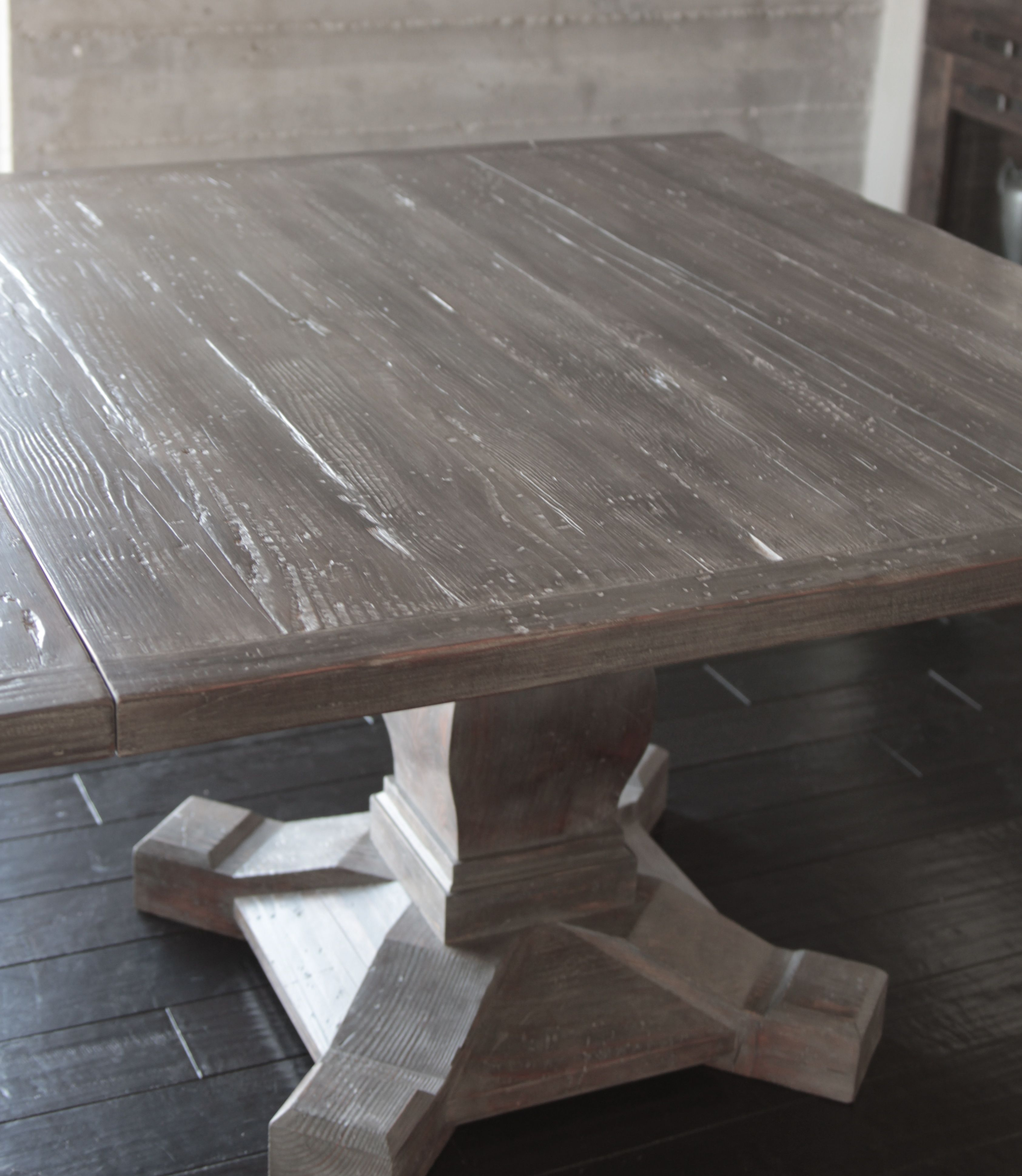 Dining table from reclaimed douglas fir three square for Diy square pedestal table
