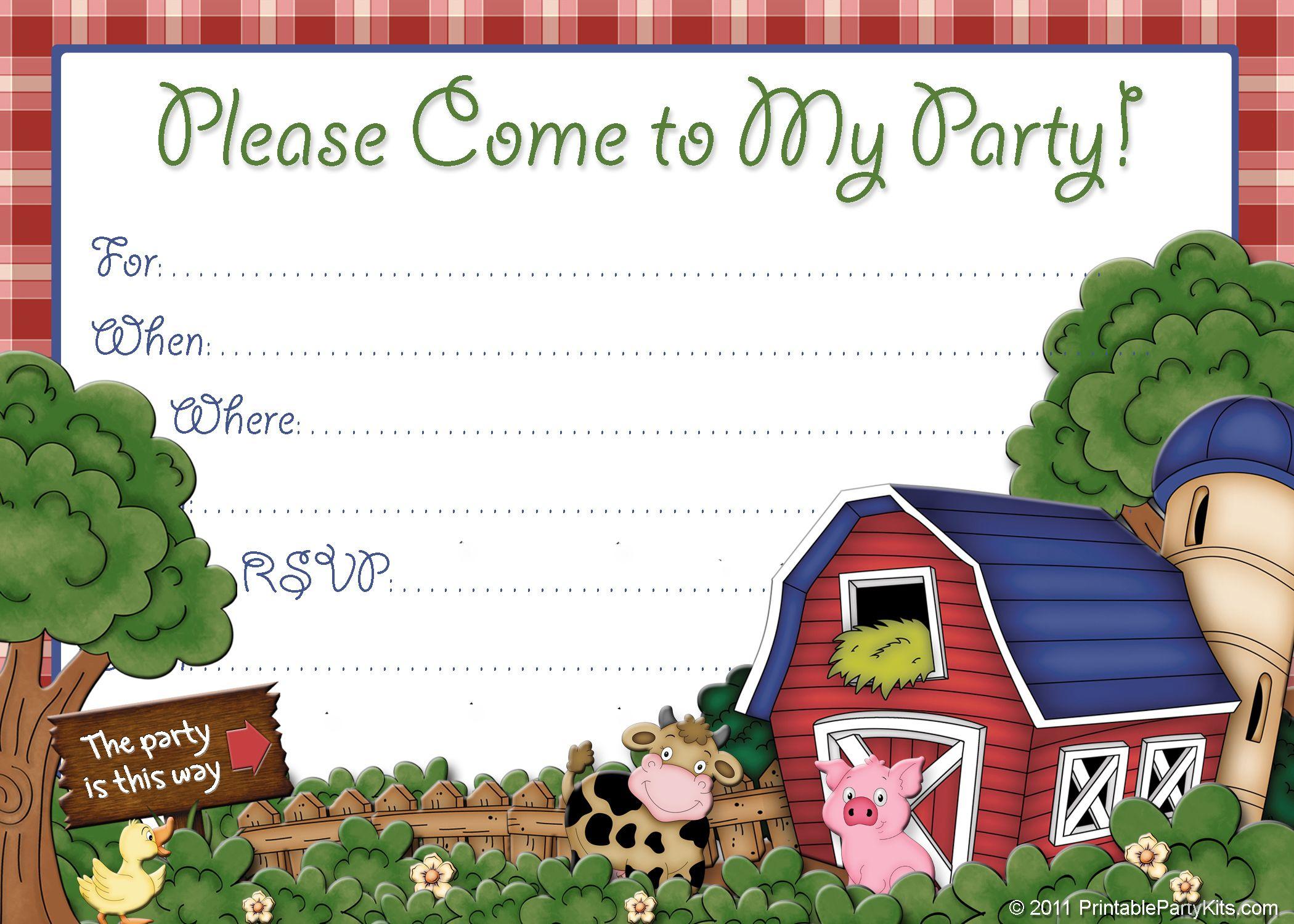free printable barnyard farm invitation
