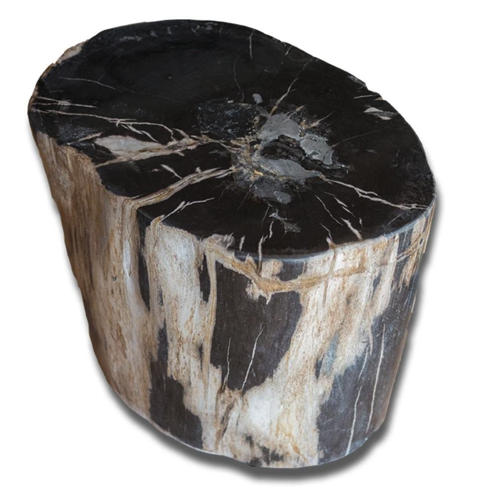 Petrified Wood Accent Stool Black Ivory Brown By Aire Furniture