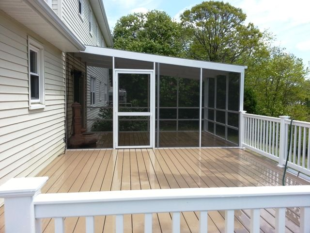 Partially Screened In Deck In A Lean To Style Against House Small Lake Houses Screened In Porch Diy Gazebo On Deck