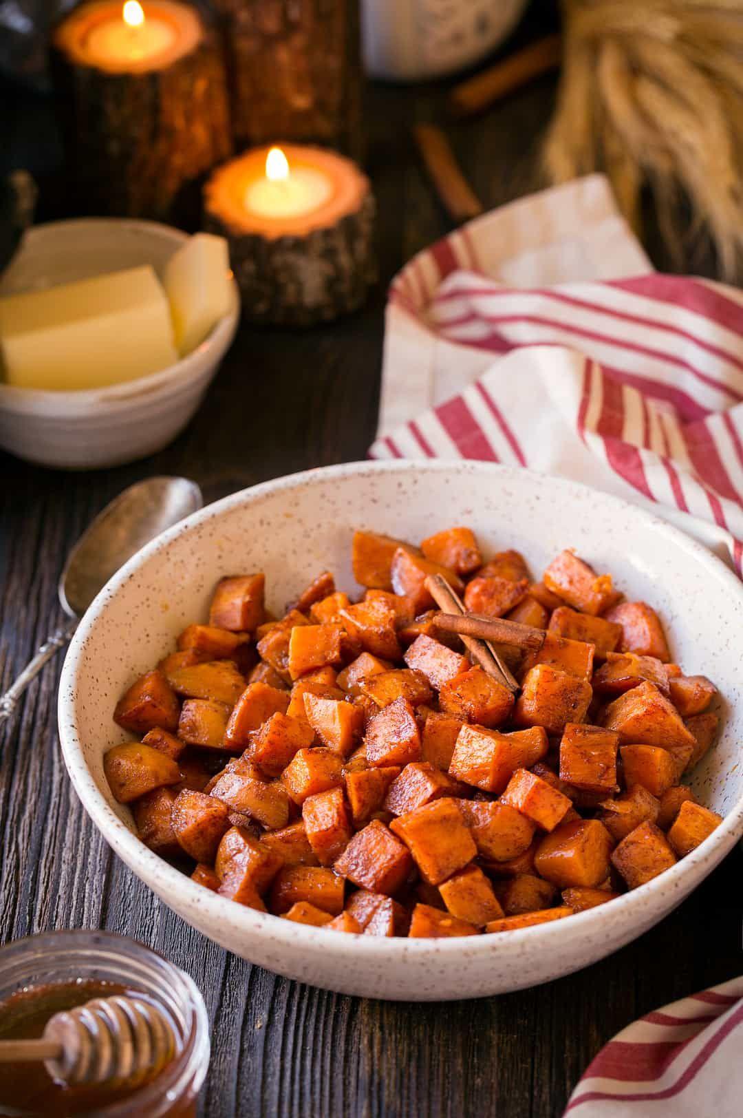 Cinnamon Honey Butter Roasted Sweet Potatoes