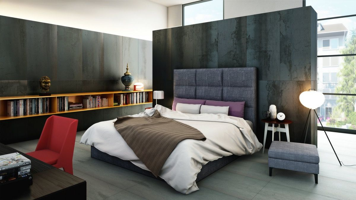 Fabulous marbled concrete stops well before the ceiling to give this spacious bedroom a calmer and more grounded atmosphere the result looks rich clean