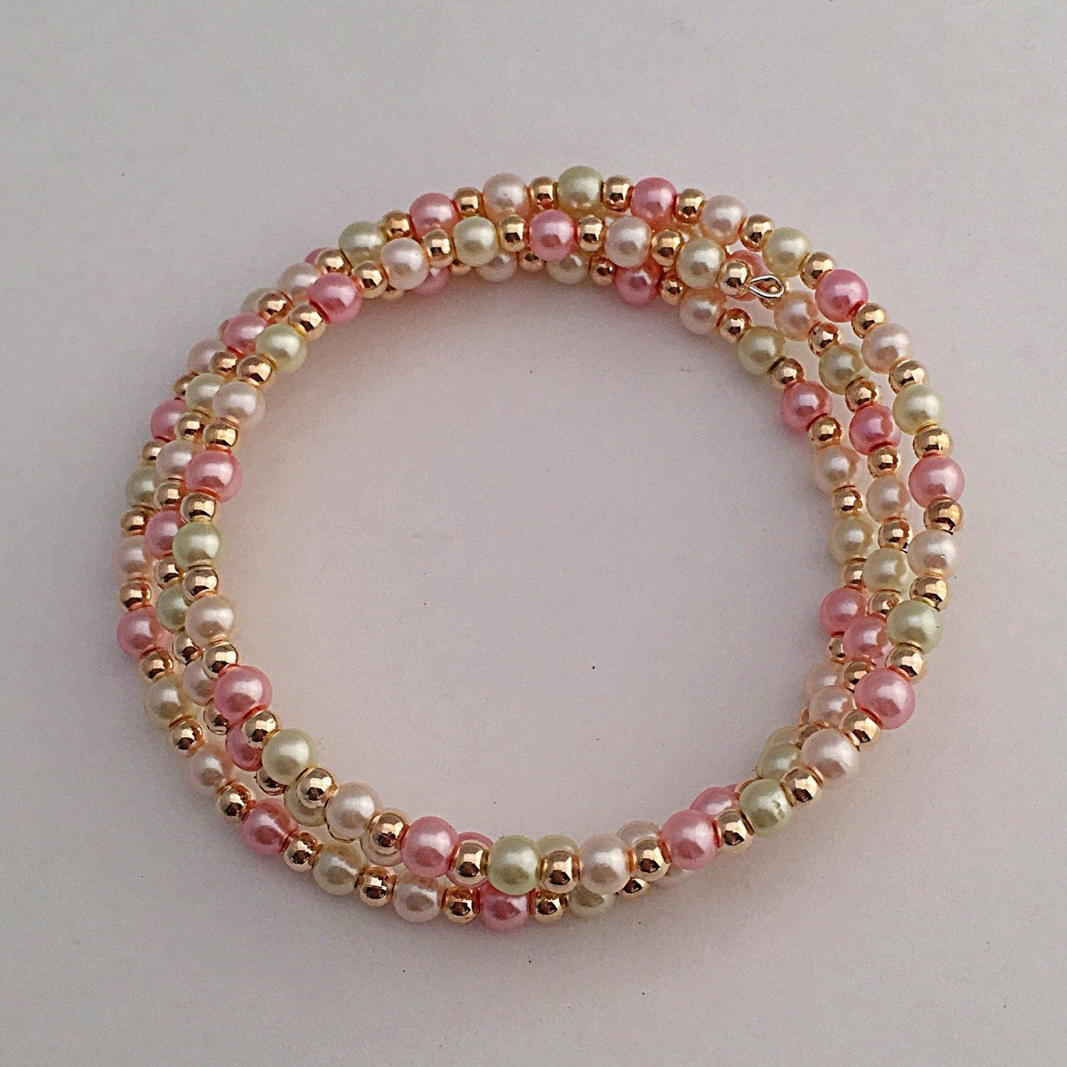 Rose Gold Pink Beaded Pearl Memory Wire Bracelet, Triple Wrap Around ...