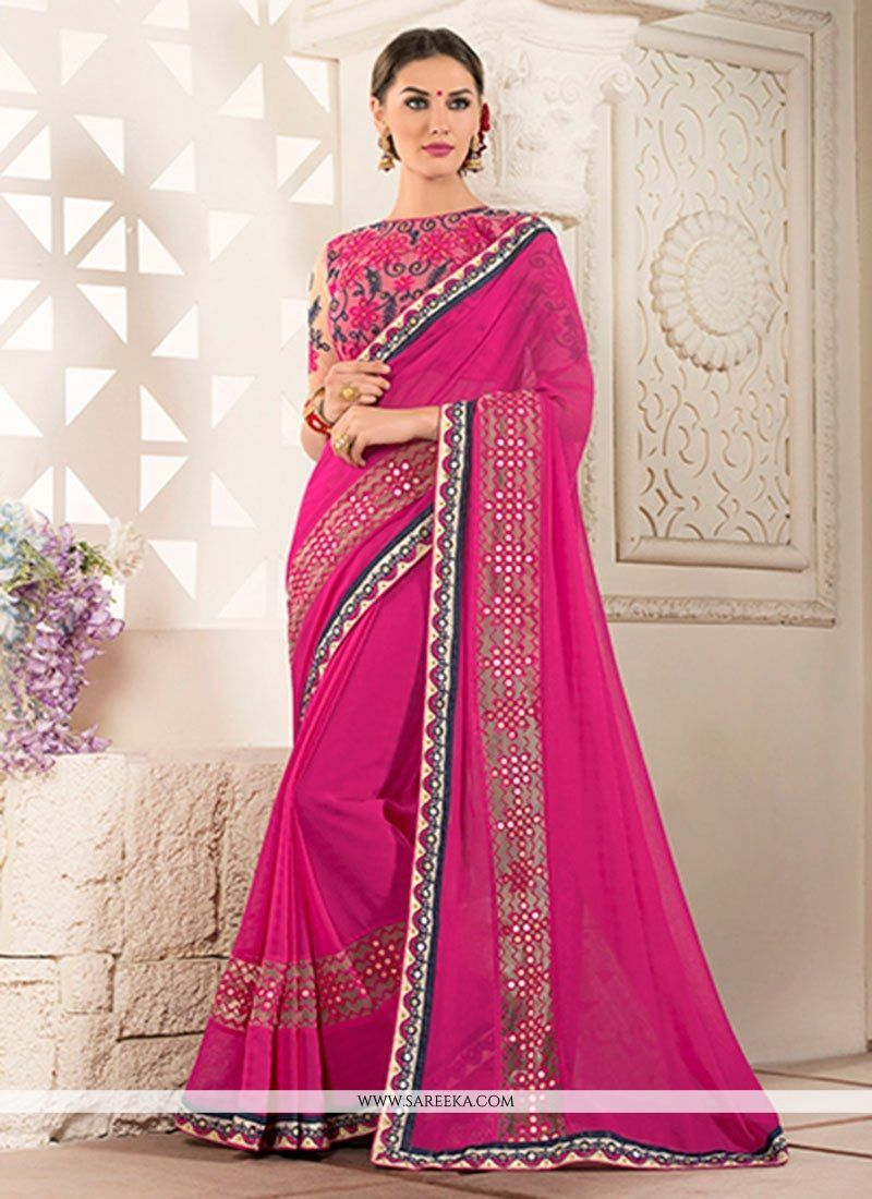Light Pink Designer Silk Saree with Embroidered Border in