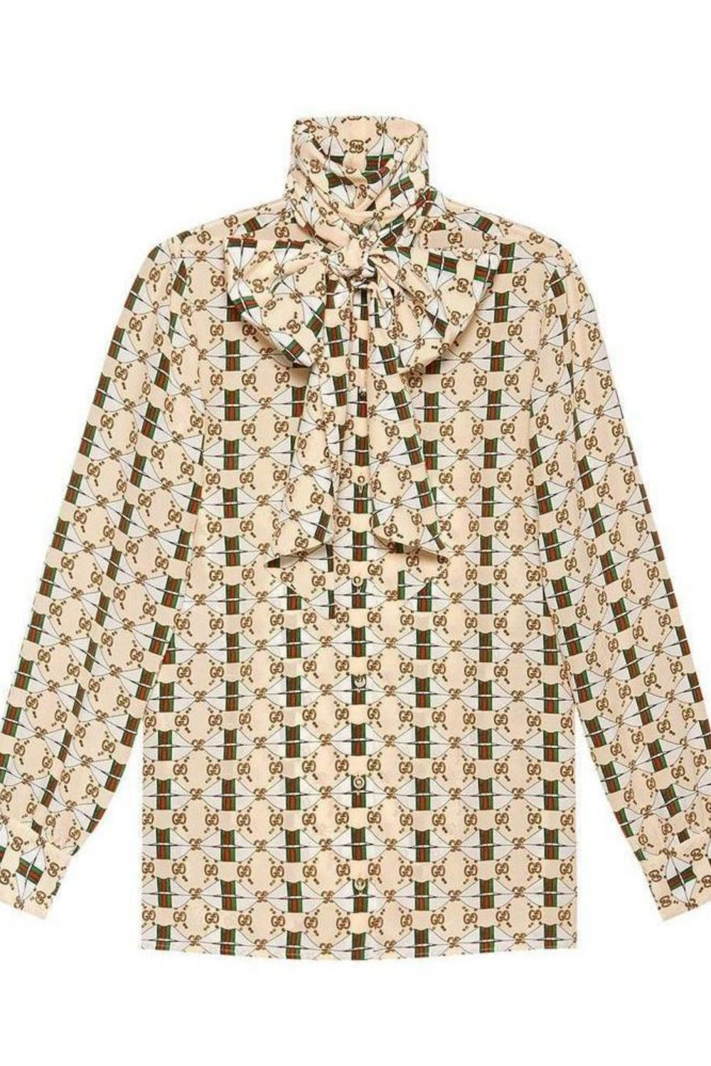 a9b69c686 Silk shirt with Web GG print Ivory silk Silk shirt with Web GG print from  Gucci