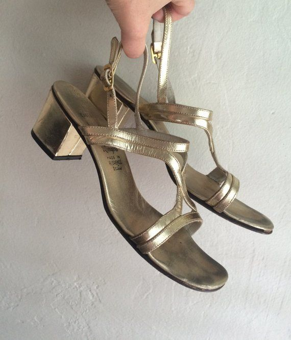ef1fffb560 Vintage gold scrappy block heel sandals | Products