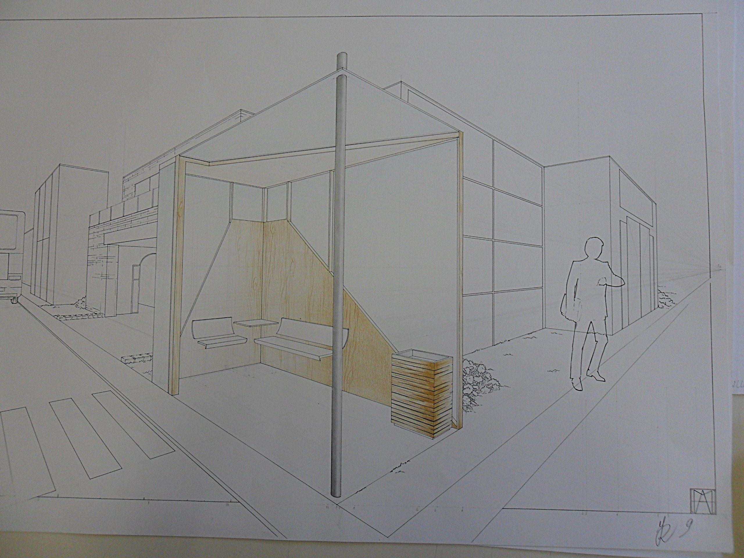 Camera Da Letto In Prospettiva Centrale prospettiva accidentele.progetto pensilina autobus (con