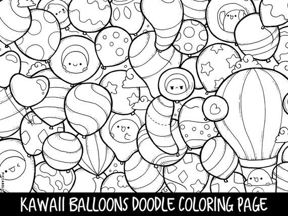 graphic about Printable Kawaii Coloring Pages called Balloons Doodle Coloring Webpage Printable Lovable/Kawaii