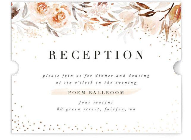 Monogrammed Watercolor Floral Foil-Pressed Reception Cards