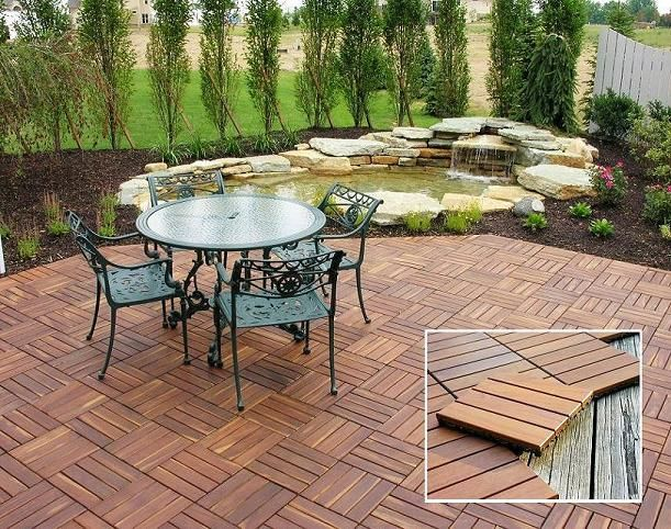 modular interlocking outdoor decking patio tiles overlaying a concrete patio - Concrete Tile Garden Decor