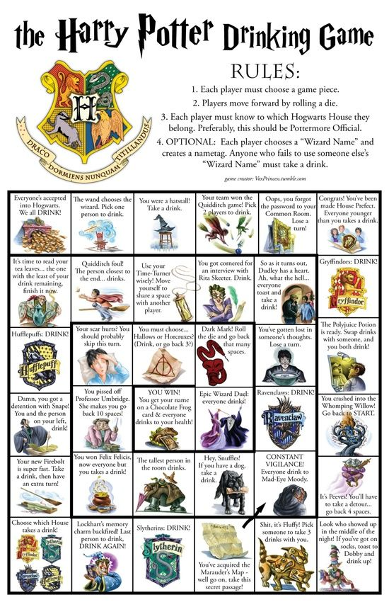Harry Potter Drinking Game Id Like To Play But My Friends Arent That Nerdy