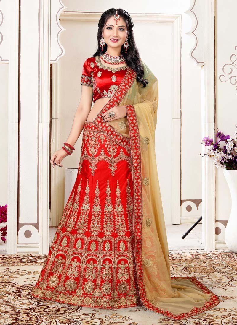 c4d0923c6f0 Red Wedding Wear Designer Embroidred Lehenga Choli Red Color Heavy Zari  Embroidery,Daimond &