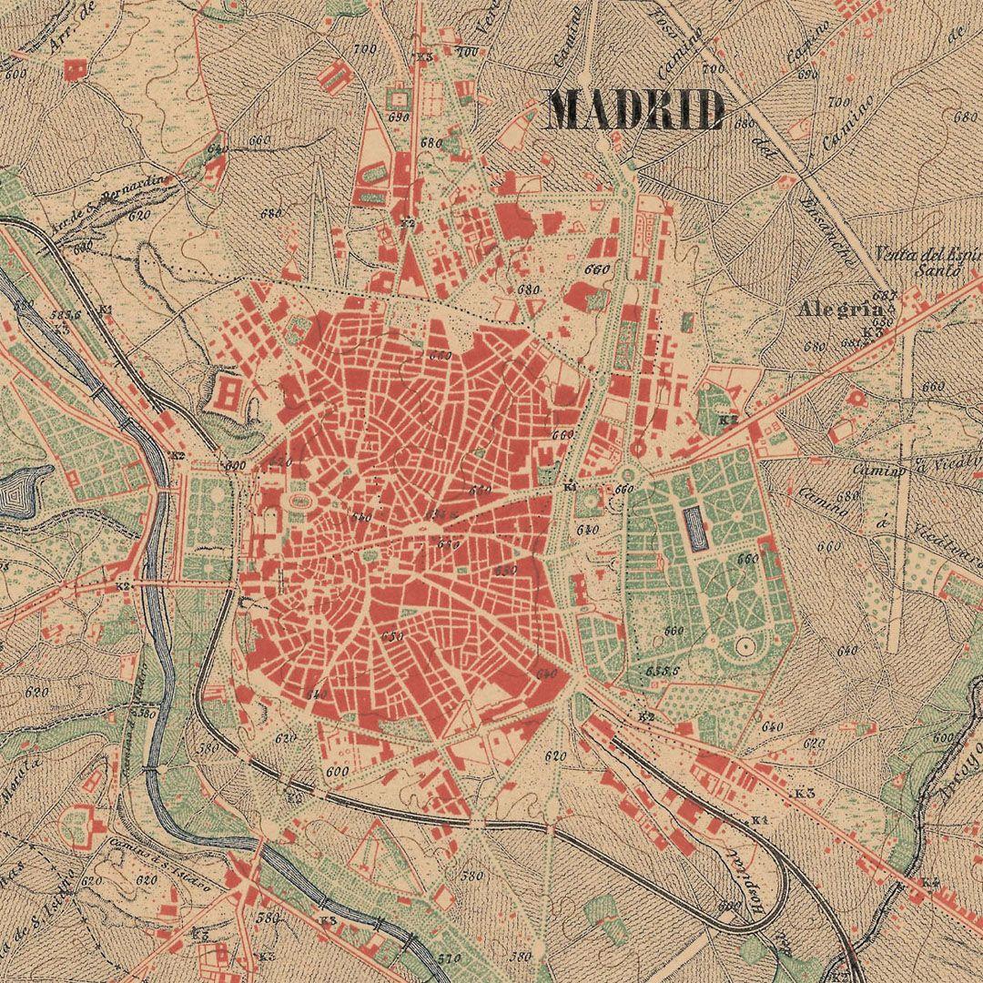 Madrid En 1875 Hoja 559 Del Mtn50 Mapas Antiguos Mapas Cartografía