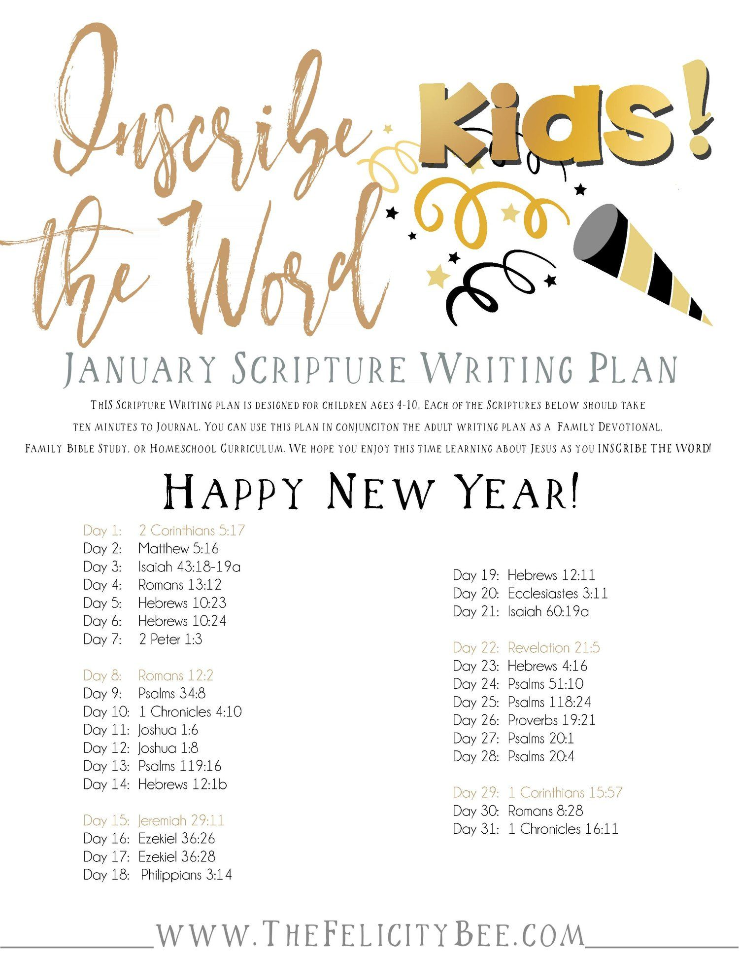 Dec 27 Inscribe The Word Kids January Scripture