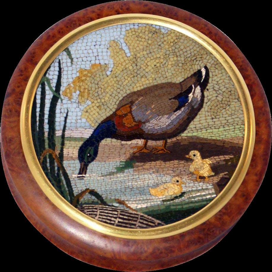 Duck & ducklings micromosaic snuff box