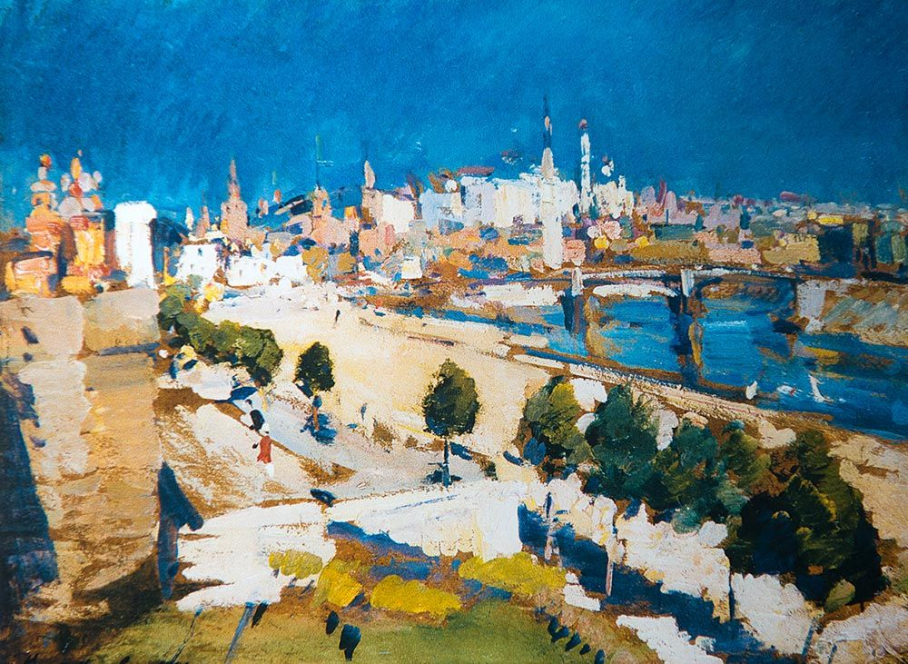 Konstantin Korovin (Russian 1861–1939) [Impressionism, Art Nouveau] Kremlin view from Cathedral of Christ the Saviour.