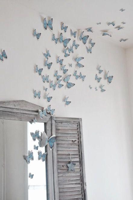 Paredes decoradas con mariposas de papel Aquí ahora Pinterest