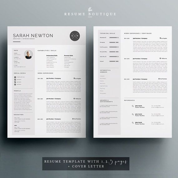 Resume Template and Cover Letter Template for Word DIY Printable 4