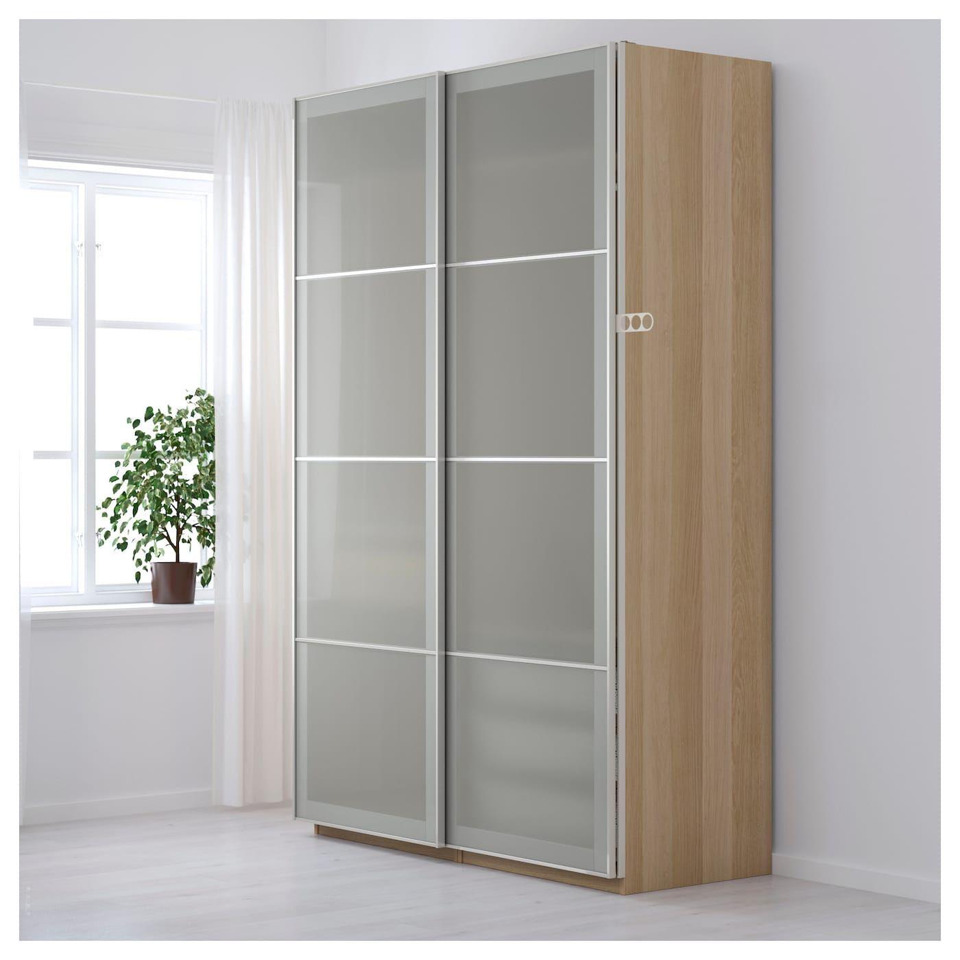 Pax Kleiderschrank Eicheneff Wlas Sekken Frostglas Ikea