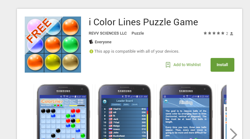 Android App Reviews i Color Lines Puzzle Game Android