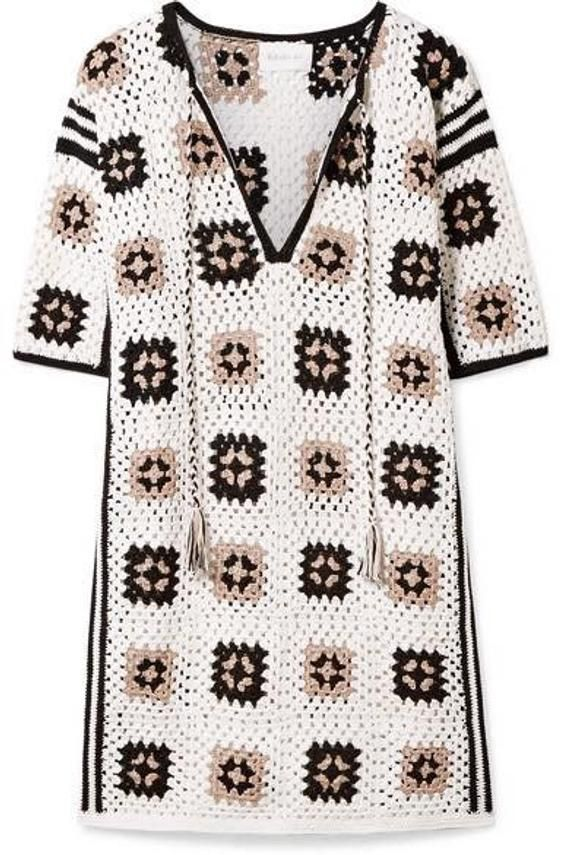 Photo of crochet dress with motifs squares,summer clothing,gift ideas,colorful dress,beach clothing,cozy dress,tunic