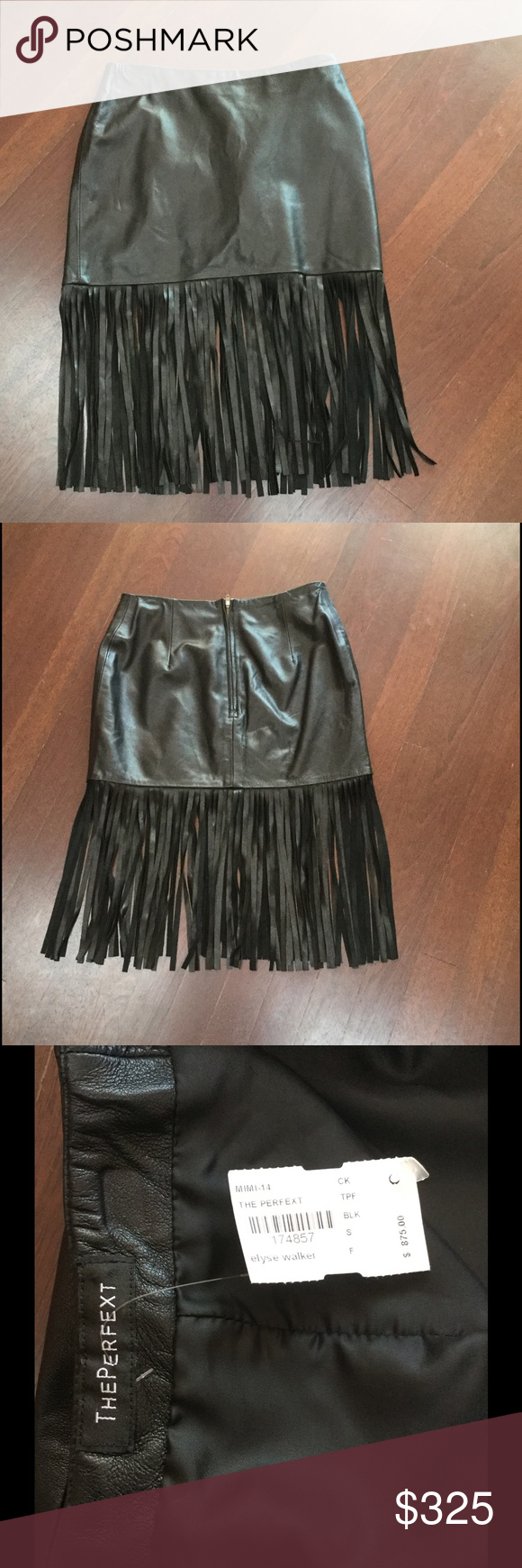 """THE PERFEXT LEATHER SKIRT WITH FRINGE Black mini skirt with fringed trim, tonal stitching throughout and exposed zip closure in back. Never been worn, look sexy with heels or blouse and boots for the office. Waist 28"""",hip 35"""", length 13"""" fully lined. The Perfext Skirts Mini"""