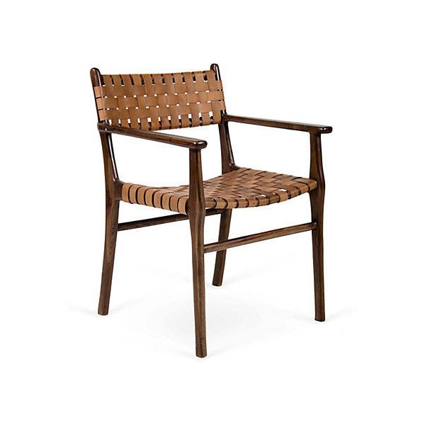 Woven Leather Chair, Brown Found On Polyvore