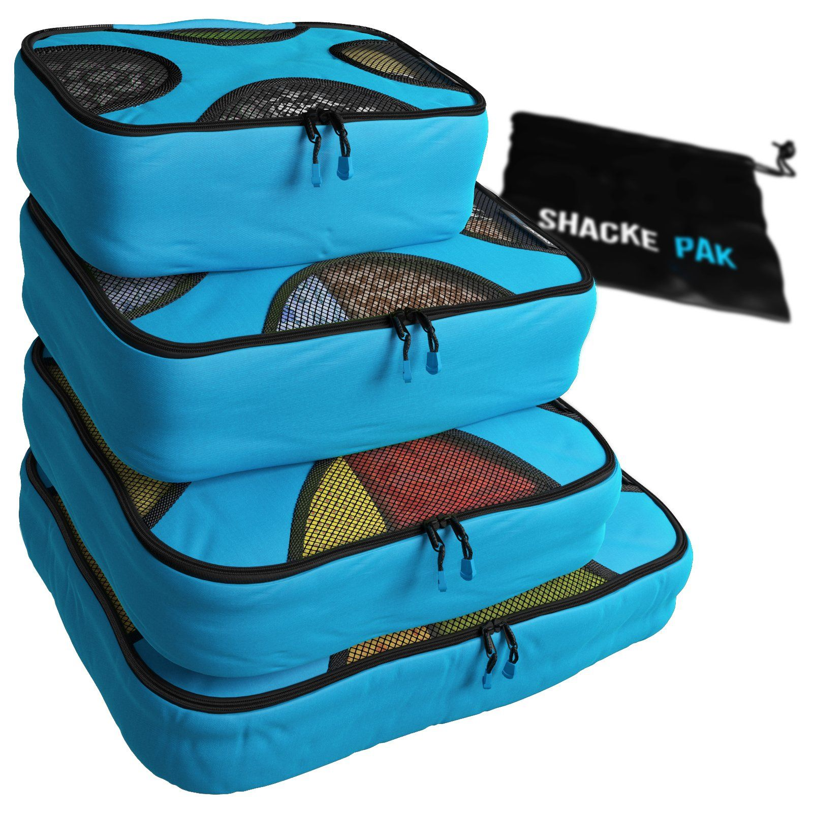 Shacke Pak 4 Set Packing Cubes Travel Organizers with Laundry Bag