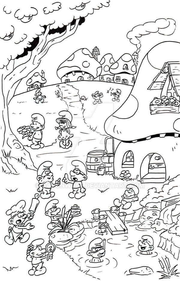 Smurfs village by jasonwulf   Libros para colorear ...